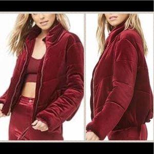 NWT red velvet puffer bomber jacket